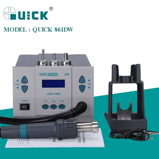 QUICK 861DW 1000W BGA Rework Station Hot Air Gun Intelligent Lead-Free Desoldering Station For SMD/SOIC/CHIP/PLCC/BAG Repair